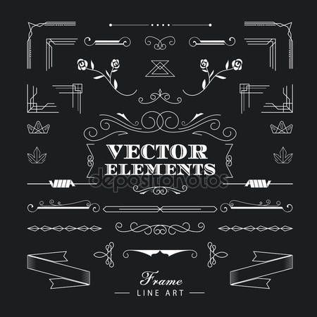 Sor vintage retro lineáris vékony vonal art deco design elemek g — Stock Vektor © nimaxs #85200774