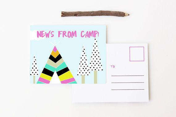 Camp Postkaarten meisjes zomerkamp stationaire gepersonaliseerd kamp Opmerking…