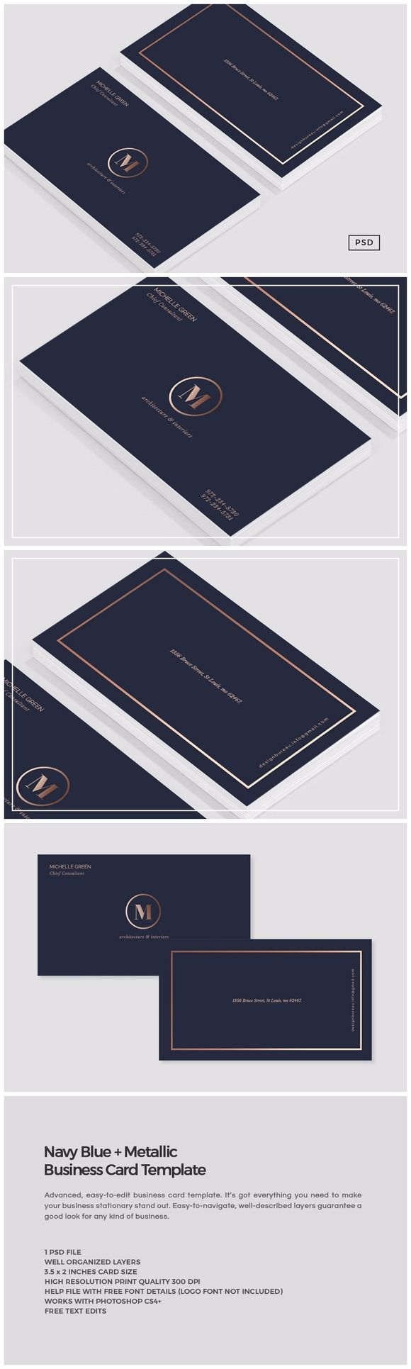 Navy Blue Metallic Business Card by The Design Label on @creativemarket