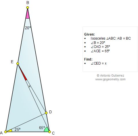 Geometry Problem 1038: Isosceles Triangle, Angle, 80, 20, 25, 65 Degrees