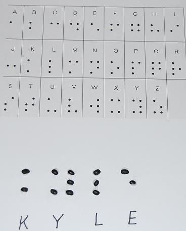 Exploring the Sense of Touch:  Braille Alphabet Names formed with Dried Beans