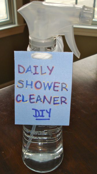 DIY Daily Shower Cleaner  24 ounces of water  1/2 cup hydrogen peroxide  1/2 cup rubbing alcohol  2 tsp dish washing liquid  2 tsp automatic dishwasher rinse