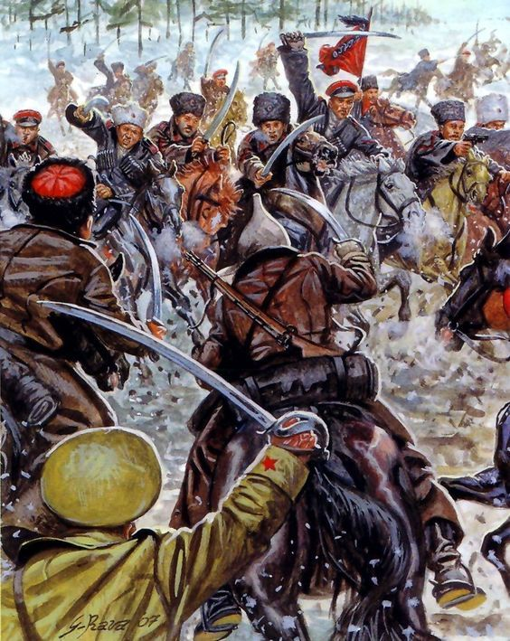 Charge of the Red Army cavalry and the White Army cossacks during the Russian Civil War