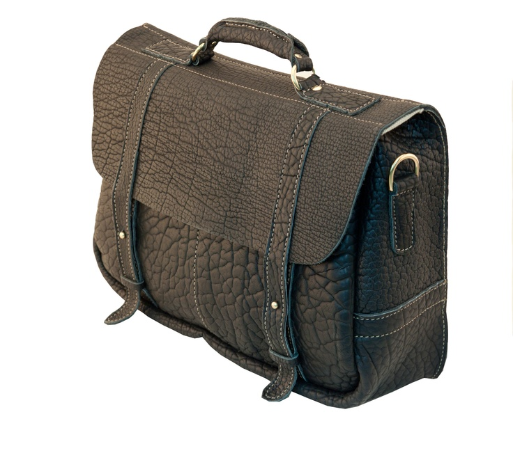 """American Bison Angler's Bag by Mulholland. The Angler's is our most popular silhouette and is now available from our completely American-made bison collection. Compact in size, the Angler's still handles a 15"""" laptop and a day's files and paperwork. There are two pockets under the flap for smaller items and a detachable shoulder strap.: Popular Silhouette"""