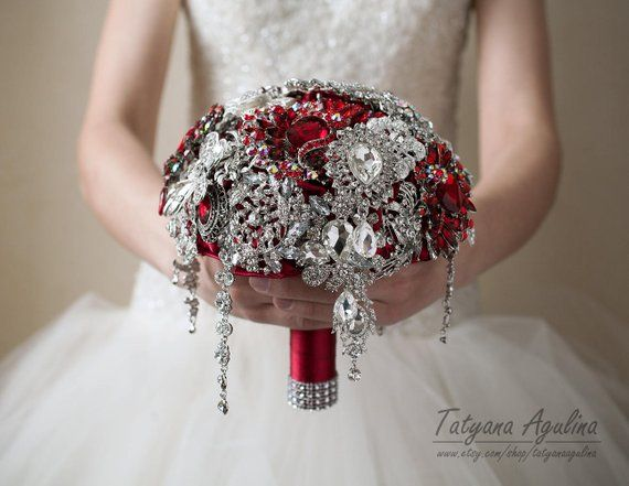 Red Brooch Bouquet Wedding Bouquet Bridal Bouquet Bridesmaids