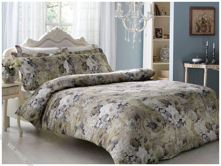 tivolyo постельное белье queen бежевое с белыми розами - купить в интернет магазине jofrua.ru