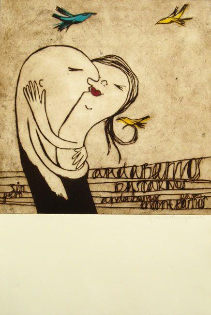 Passionate kisses of love: Illustrations by Marina Anaya