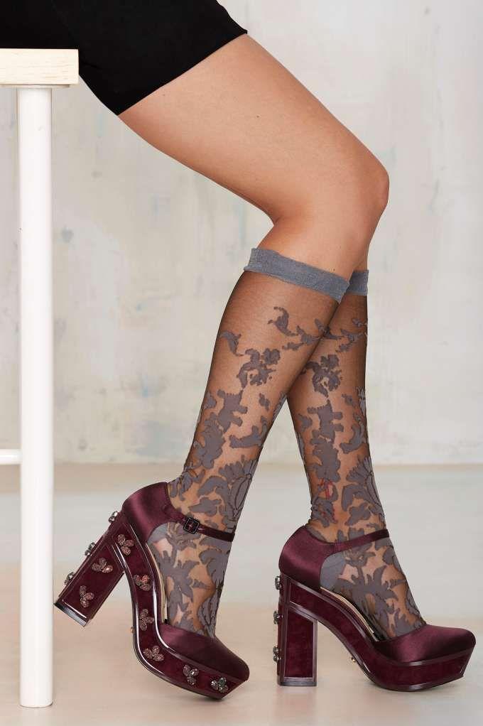 Grey Bouquet Floral Socks - Accessories   Socks + Legwear   Dark Romance   Dark Romance