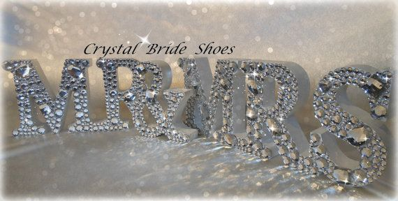 White Wooden Mr & Mrs Sign customised with by CrystalBrideShoes