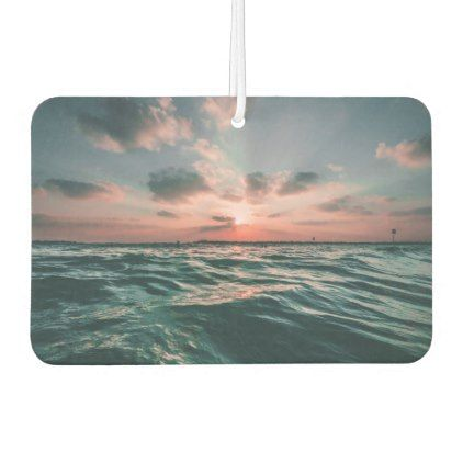 Pink Sunset and Blue Ocean Horizon Air Freshener - photography gifts diy custom unique special