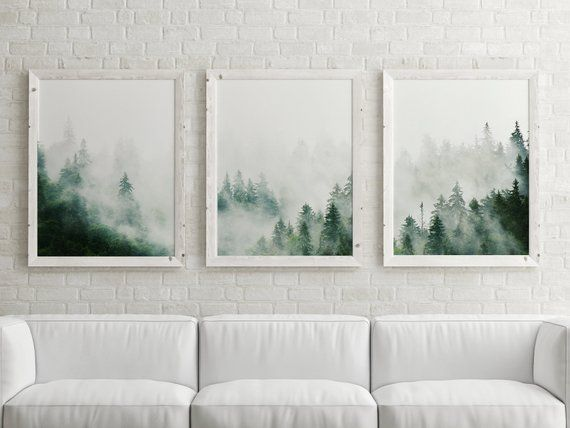 Set Of 3 Forest Prints Foggy Mountain Print Large Wall Art Etsy Framed Wall Art Sets Abstract Wall Art Living Room Etsy Wall Art