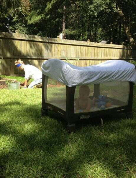 Smart! Bed sheet over a pack-n-play so bugs/sun don't bother baby.