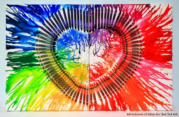 DIY Melted Crayon Art - Heart Canvas