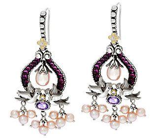 Barbara Bixby Sterling /18K Gemstone andPearl Earrings