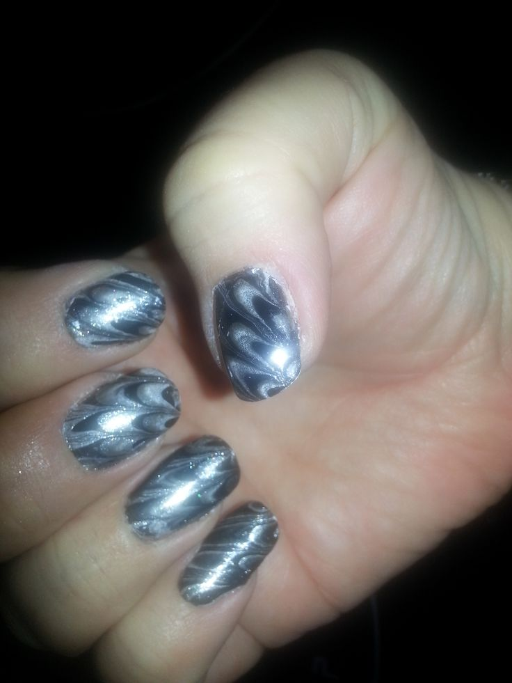 Water Marble Technique - Black/Silver/Grey OPI