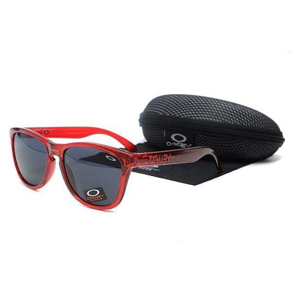 Oakley Frogskins Sunglasses Black Lens Clear Red Frames-41075