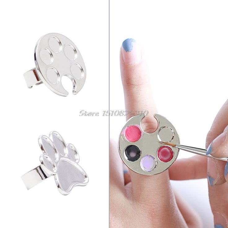 Mini Finger Nail Art Mixing Palette For Free Hand Manicure Ring Nail Tools Metal #Y207E# Best Sale