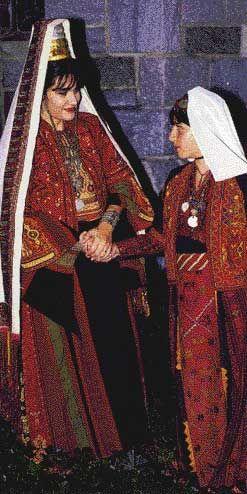 Traditional wedding dress worn in Bethlehem, Palestine Very ornate.