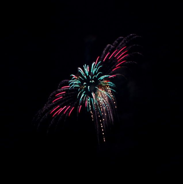 On the Fourth, I was visiting with some friends watching the local fireworks display when I caught this interesting shot. I had been shooting with one finger on the shutter button and one eye on the viewfinder so as not to miss the experience so I didn't notice this interesting shot until I loaded it up on my computer. Minor adjustments to white balance, crop, etc. made in RawTherapee and GIMP.  - Joshua Moore