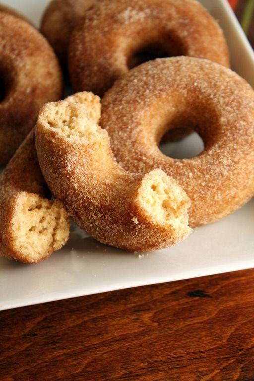 {Baked} Cinnamon-Sugar Apple Cider Doughnuts via FoodieMisadventures.com