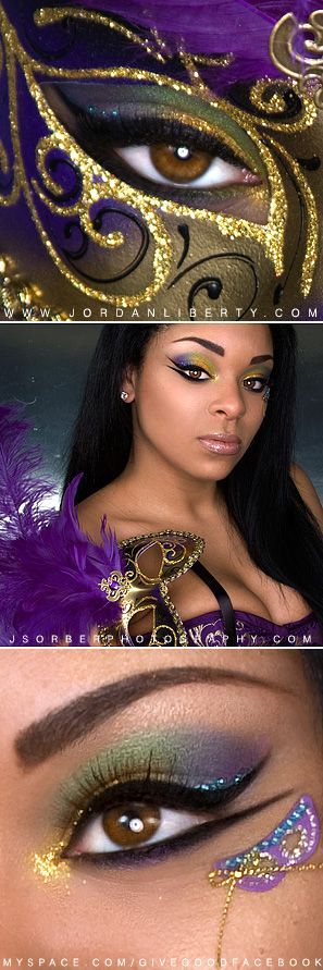 Colorful Mardi Gras make-up with a cute crystal accented mask embellishment.