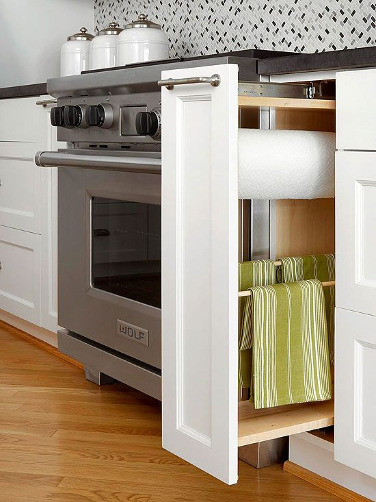 If only these were standard in every home -- slender pull-out cabinet with paper and hand towel racks, beautiful kitchen storage! | bhg.com: Kitchens Towels, Towel Racks, Kitchen Storage, Storage Idea, Towels Racks, Dish Towels, Dishes Towels, Kitchens Storage, Paper Towels