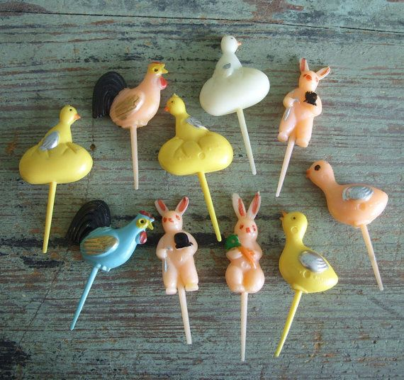 10 Vintage Easter Cake Picks Rabbit Rooster by TinselandTrinkets, $9.99