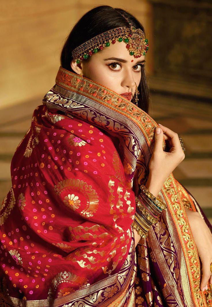 Buy Red and yellow Banarasi silk Indian wedding lehenga in UK, USA and Canada