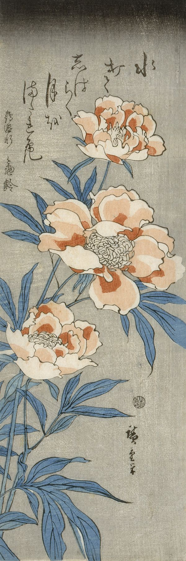 """""""Three Peonies"""" by Hiroshige (ca. 1830s). Source: The Freer and Sackler Galleries of the Smithsonian Institution.   J"""