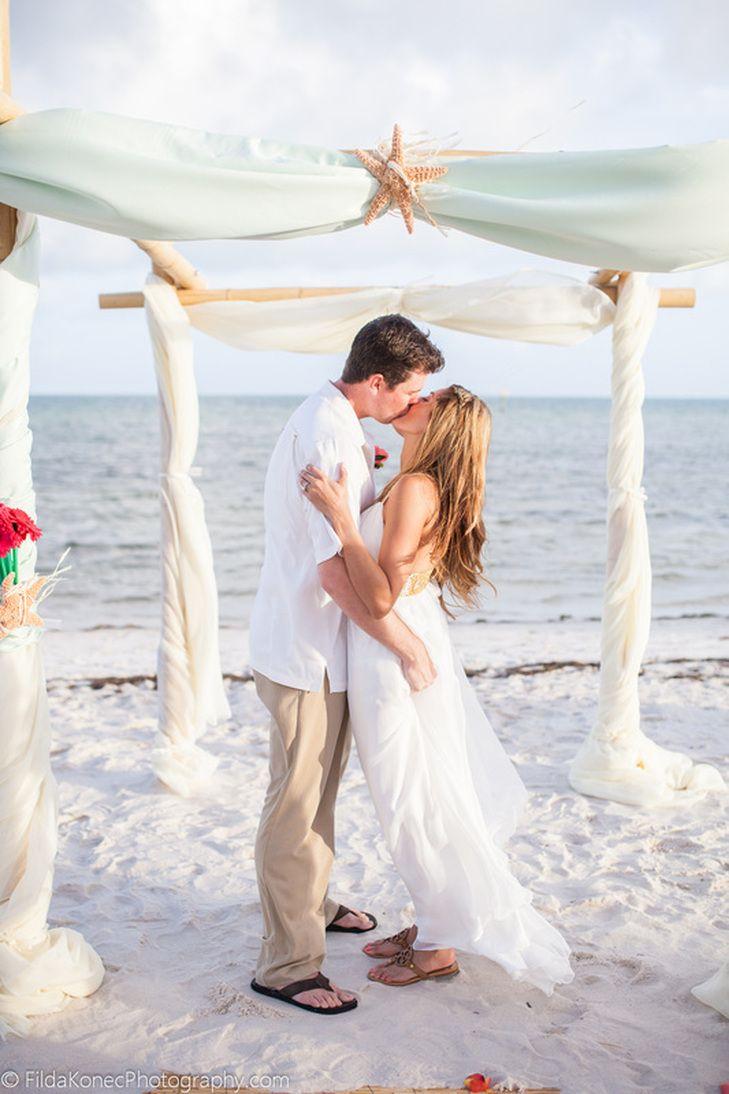 beach wedding south west uk%0A first kiss  wedding on Smathers Beach in Key West  Florida  starfish  decoration