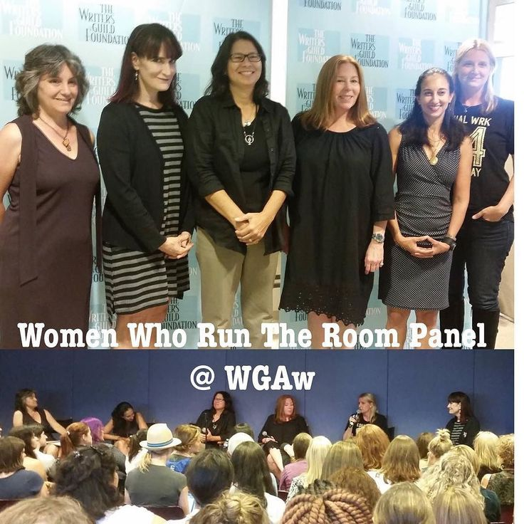 Women Who Run the Room: A Conversation with Showrunners at the WGAw and co-sponsored by the Stephens MFA in Screenwriting Program.  Photos of the panel and the full house/sold out audience from Women Who Run the Room: A Conversation with Showrunners. The Stephens MFA in Screenwriting co-sponsored this event with the Writers Guild Foundation. (from left to right: Dr. Rosanne Welch moderator; Alexa Junge from Grace and Frankie; Dee Johnson from Nashville; Laurie McCarthy from Reign; Lizzy…