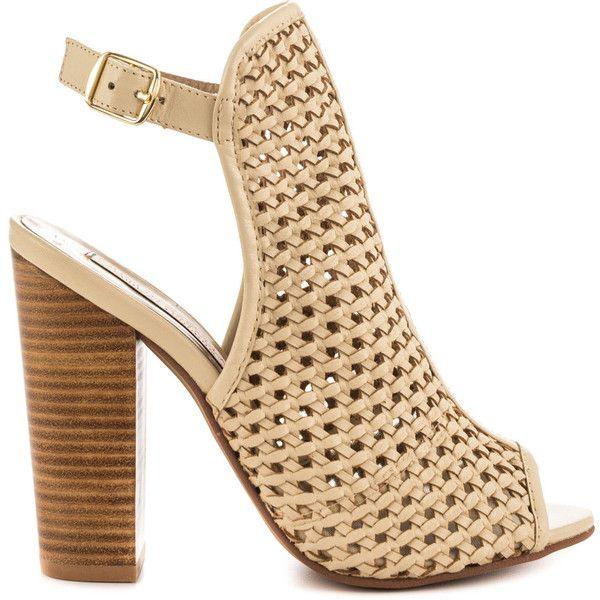 Kristin Cavallari Women's Largo - Mushroom Weave (580 MYR) ❤ liked on Polyvore featuring shoes, sandals, beige, summer sandals, block heel sandals, beige sandals, beige strappy sandals and high heel sandals