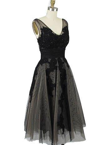 1950s Inspired Black Beige Tulle Tea Length Party Dress