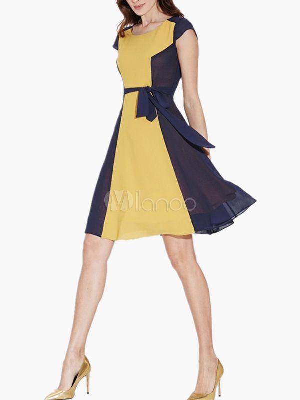 Vestido de chifón on escote ovalado con mangas cortas de dos tonos - Milanoo.com
