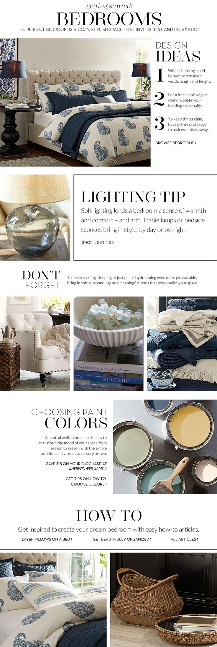 Bedroom Decorating Ideas | Bedroom Decorating Decor | Pottery Barn