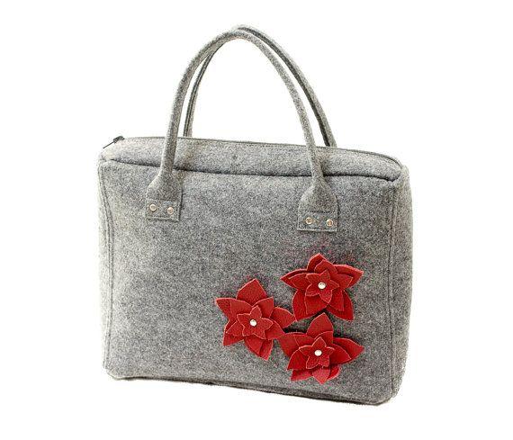 Gray trunk made of stiff felt with leather flowers. Handmade by Anardeko