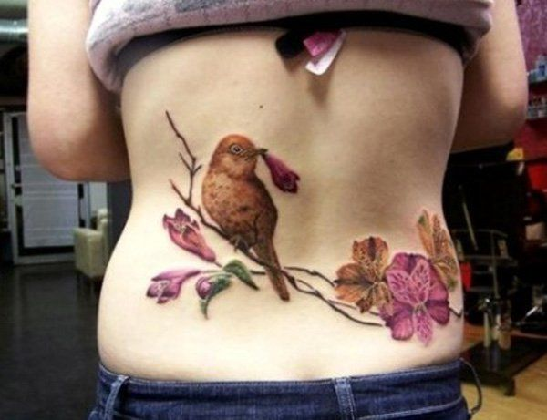 Bird and Flower Low Back Tattoo - 60+ Low Back Tattoos for women  <3 <3