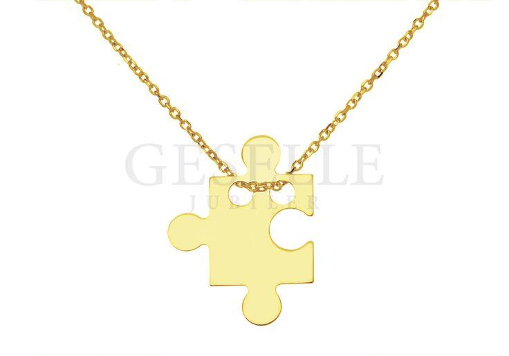 Złota celebrytka z zawieszką w kształcie puzzla - idealny pomysł na prezent! | ZŁOTO \ Żółte złoto \ Komplety NA PREZENT \ Pod choinkę od GESELLE Jubiler
