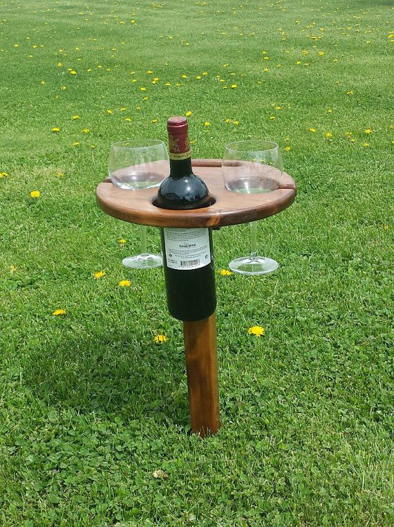 Outdoor cedar Wine Table. #WineLover #wineoclock #wineaccessory #outdoortable