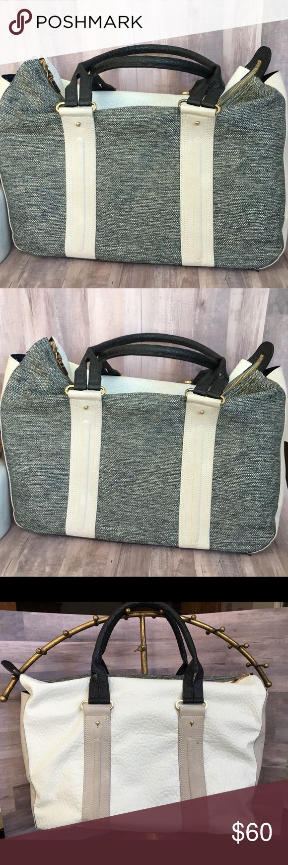 NWT French Connection Tote Bag Beautiful brand new French Connection tote bag with gold accents.  Heathers grey on one side, cream on the other.  Perfect for work/lap top, business. French Connection Bags Totes