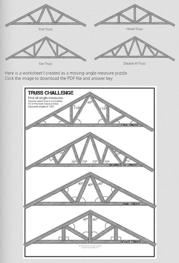 "Free Downloads -- Clip Art to pop into any Geometry quiz or worksheet for angle measures!  Geometry with Roof Trusses - Clipart and worksheet for finding missing angle measures (practicing Angle Addition Postulate, Triangle Sum Theorem, Supplementary Angles.... ANY angle skill!)  Just add your own text boxes to supply ""given information"" on a quiz or worksheet"