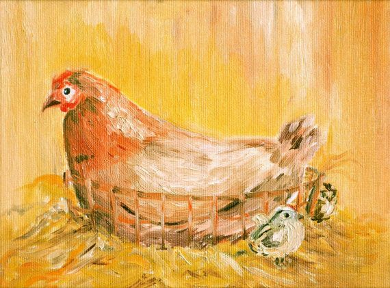 Chicken Painting  Original Oil Painting  Kitchen by KubuHandmade