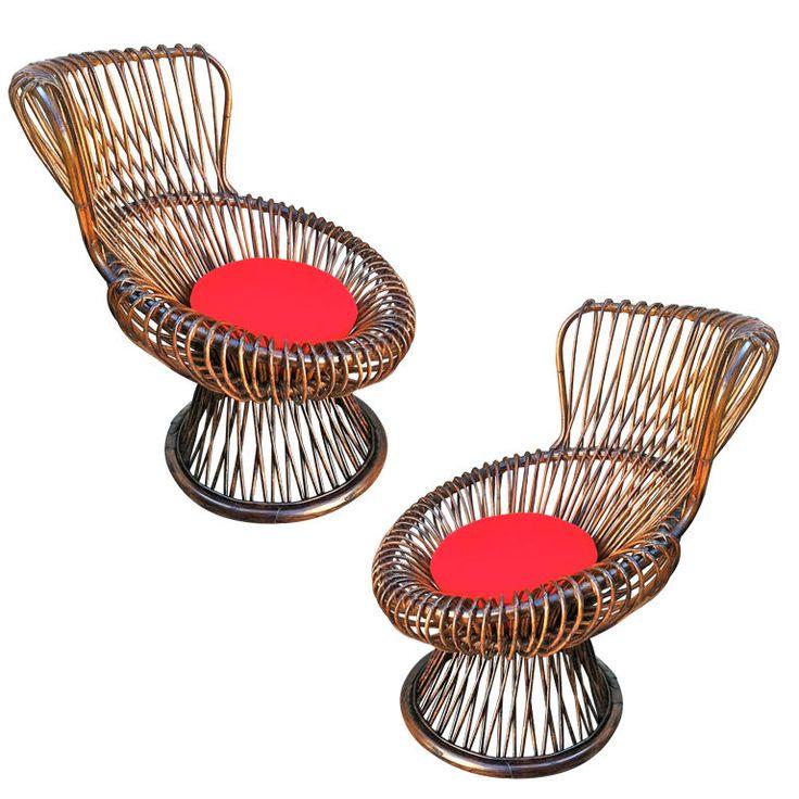 "FRANCO ALBINI pair of vintage rattan ""margherita"" chairs"