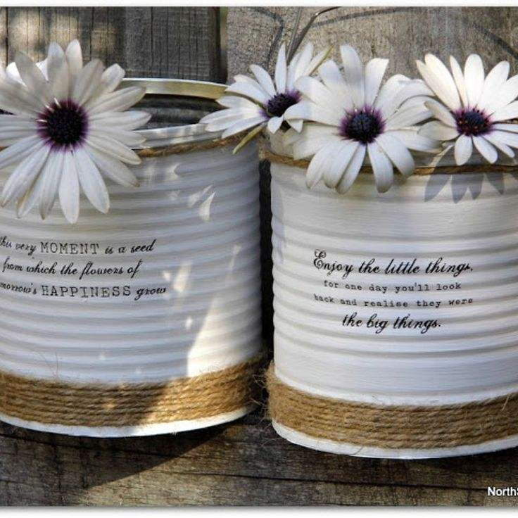 Up-Cycled Painted Tin Cans