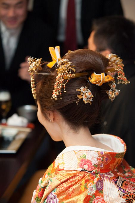 Japanese wedding 和装ヘアスタイル 地毛でこうがいと簪