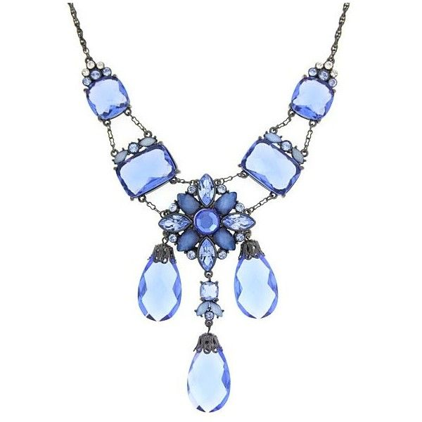 1928 Antiquities Couture Moonlit Sapphire Crystal Drop Necklace ($250) ❤ liked on Polyvore featuring jewelry, necklaces, blue, accessories, jewels, indian jewellery, 1928 necklace, blue drop necklace, ball jewelry and indian jewelry