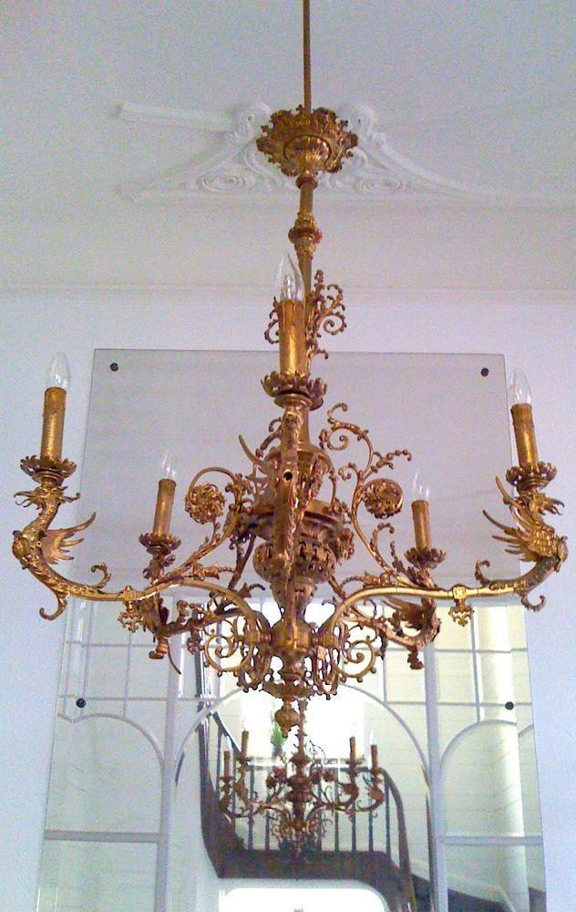 ANTIK-KRONLEUCHTER gold + 2 WANDLEUCHTER Barock Gold, 1850-1900,Familienbesitz