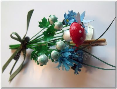 Mixed Project with Spring Flowers from polymer clay, normal paper and crepe paper.