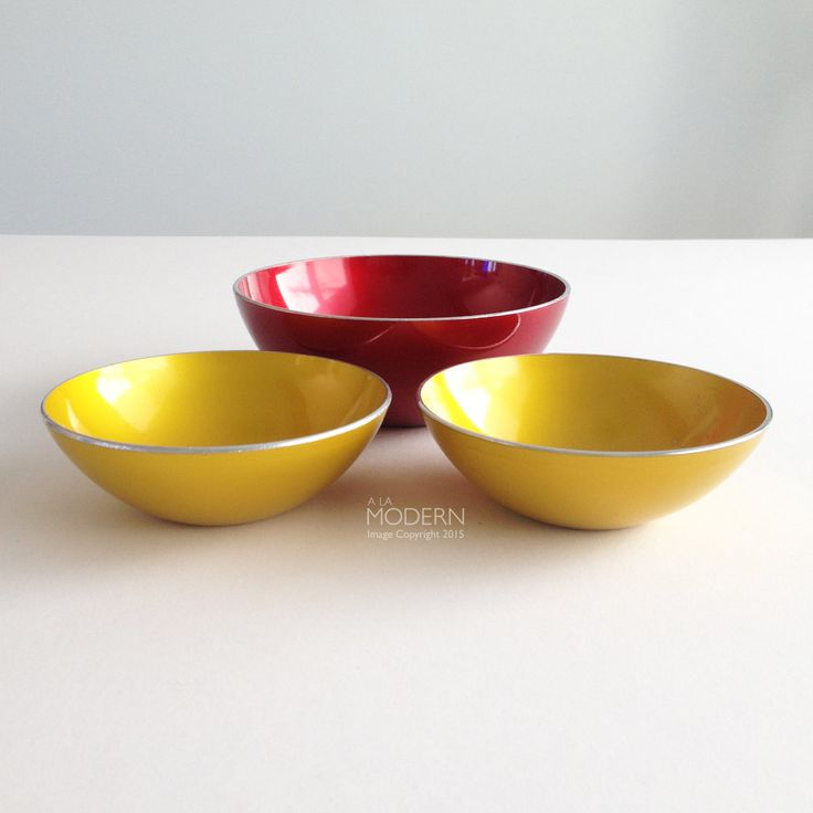 Emalox Norway Red And Yellow Enamel 3 Piece Bowl Set by alamodern on Etsy