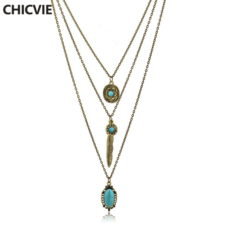 CHICVIE Collier Femme Long Statement Necklaces for Women Natural Stone Beads Vintage Accessories Ethnic Jewelry 2017 SNE160117